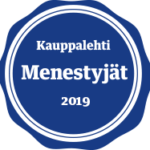 Sininen pyöreä Menestyjät 2019 -merkki.