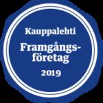 Blå rund märke med text Framgångsföretag 2019.