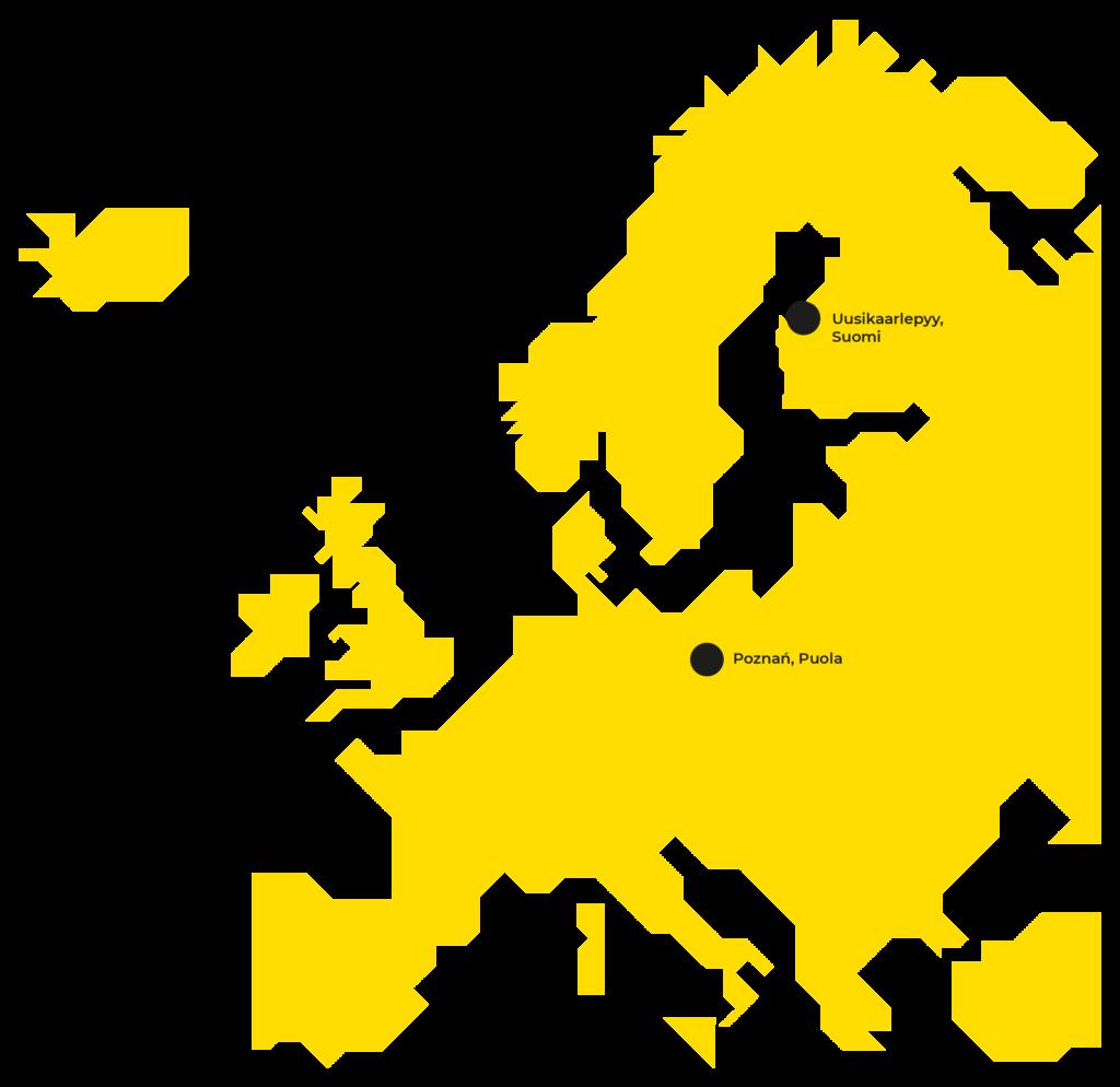 Kartta Prevexin tomipisteistä Euroopassa.