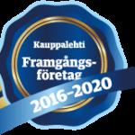 Blå stämpel med text Framgångsföretag 2016-2020.