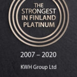 Golden circle and text on a black bottom: The Strongest in Finland Platinum 2007-2020 KWH Group Ltd.