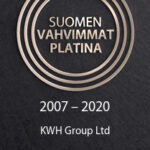 Kultainen rinki ja teksti mustalla pohjalla: Suomen vahvimmat platina 2007-2020 KWH Group Ltd.