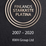 EN guld cirkel och text på en svart botten: Finlands starkaste platina 2007-2020 KWH Group Ltd.