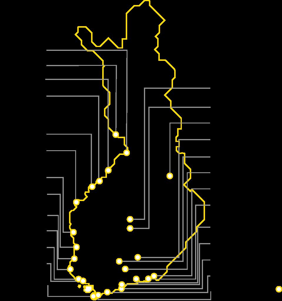 Kartta KWH Logisticsin toimipaikoista Suomessa.