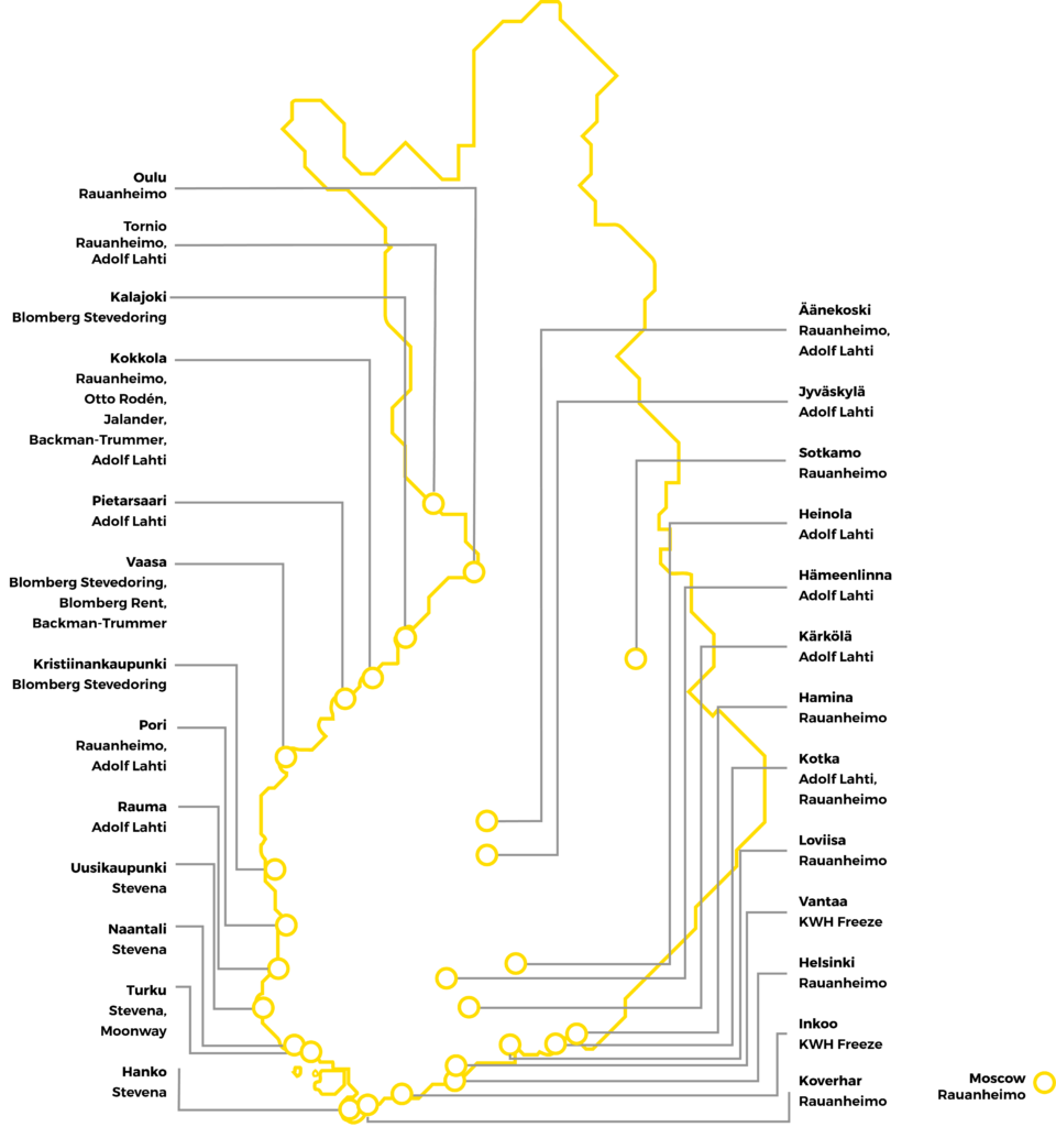 Map of KWH Logistics in Finland.
