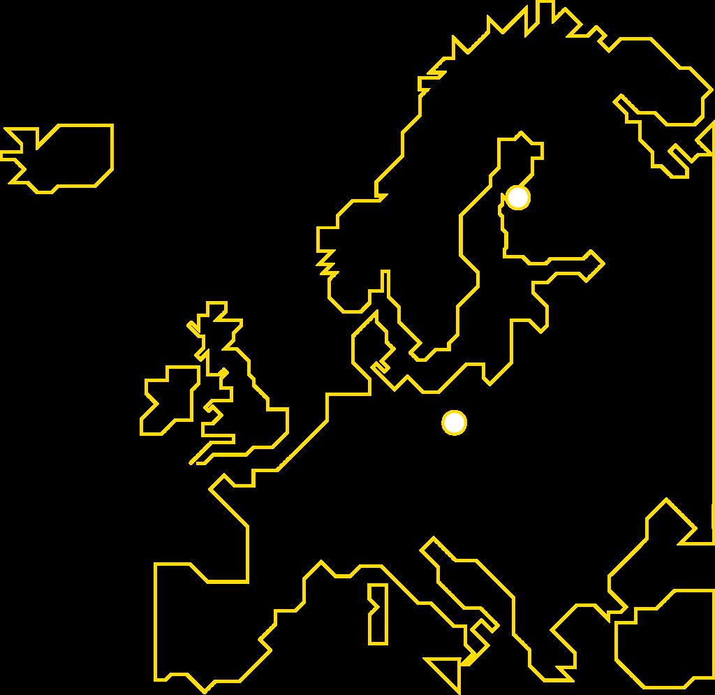 En karta över Prevex verksamhetsställen i Europa.